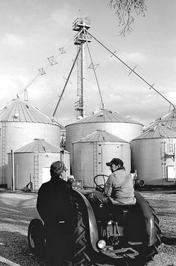 Black and White Grain Bins Antique Tractor Farmers